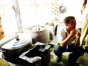 our guide explaining the rice wine distilling process